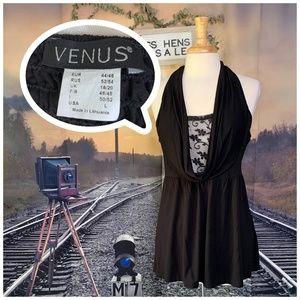 VENUS Tops - FINAL $ VENUS BLACK WHITE VISCOSE HALTER TANK TOP